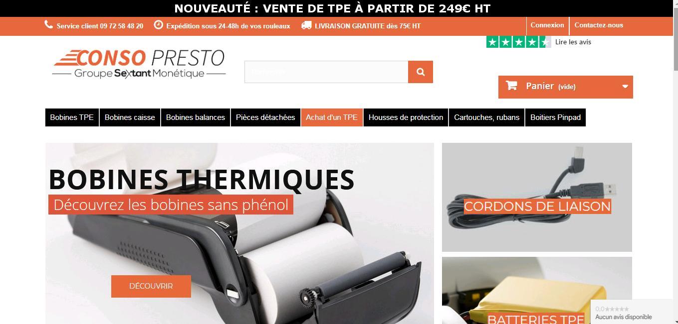 conso-presto création site internet homepage
