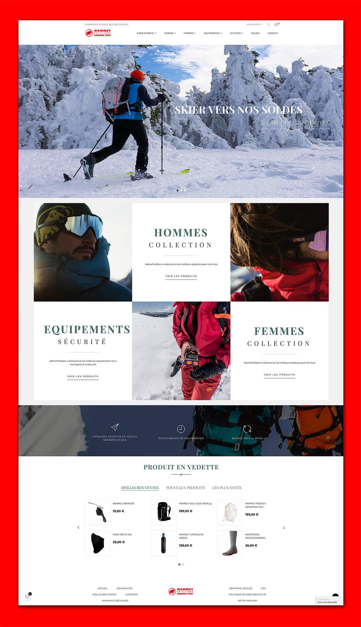 AlpineProStore Chamonix Création site de vente en ligne