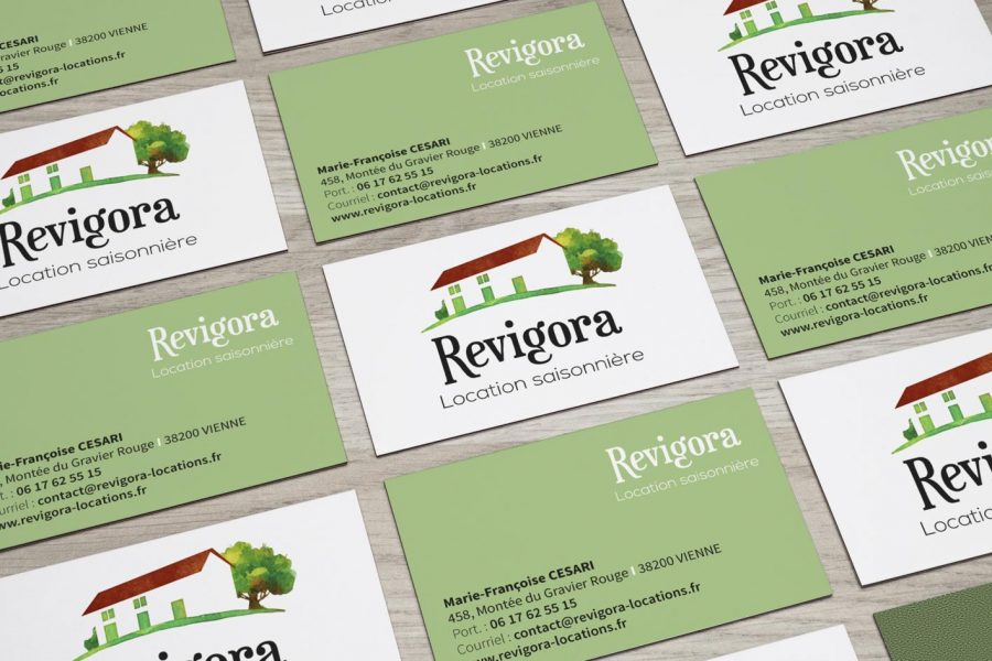 revigora location logo carte de visite Sextant Creative